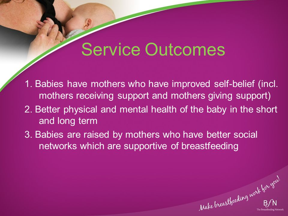 Service Outcomes 1. Babies have mothers who have improved self-belief (incl. mothers receiving support and mothers giving support) 2. Better physical