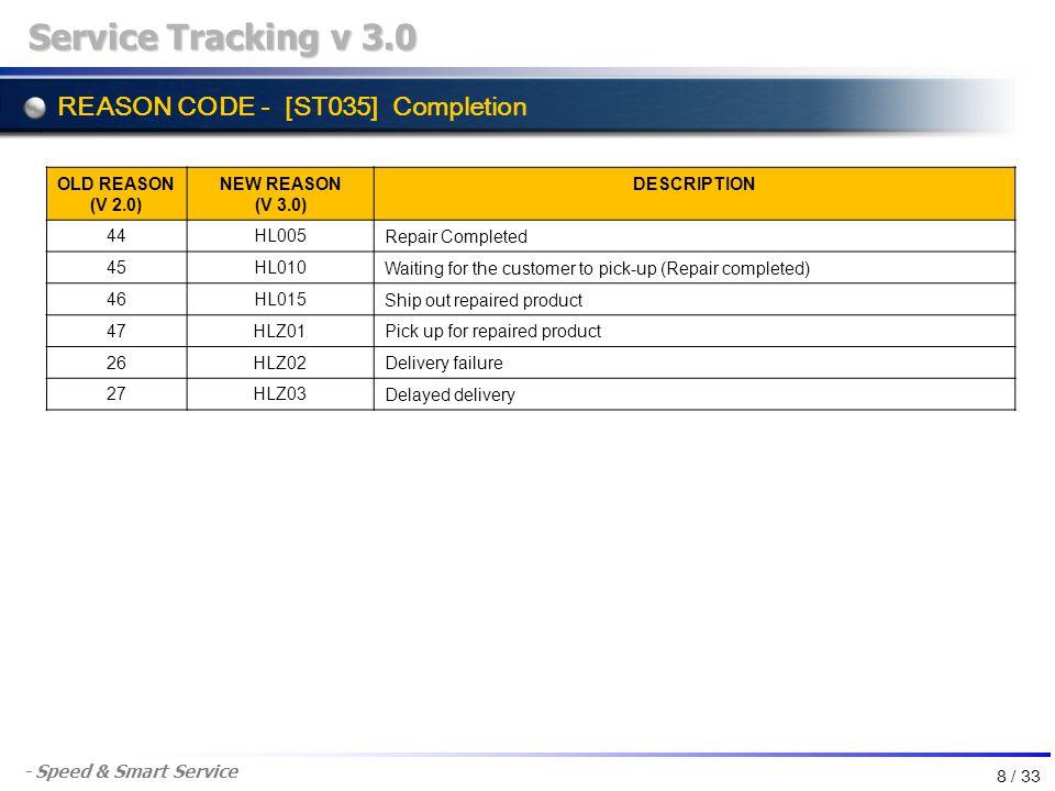 - Speed & Smart Service REASON CODE - [ST035] Completion Service Tracking v 3.0 OLD REASON (V 2.0) NEW REASON (V 3.0) DESCRIPTION 44HL005 Repair Compl