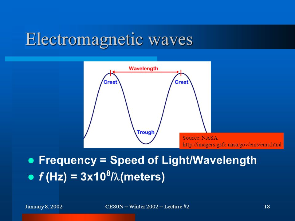 January 8, 2002CE80N -- Winter 2002 -- Lecture #218 Electromagnetic waves Frequency = Speed of Light/Wavelength f (Hz) = 3x10 8 / (meters) Source: NASA http://imagers.gsfc.nasa.gov/ems/ems.html