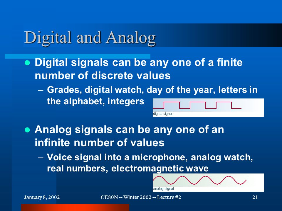 January 8, 2002CE80N -- Winter 2002 -- Lecture #221 Digital and Analog Digital signals can be any one of a finite number of discrete values –Grades, digital watch, day of the year, letters in the alphabet, integers Analog signals can be any one of an infinite number of values –Voice signal into a microphone, analog watch, real numbers, electromagnetic wave