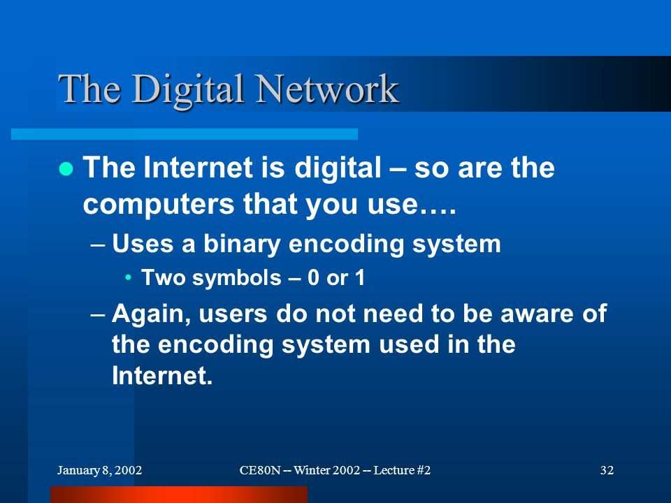 January 8, 2002CE80N -- Winter 2002 -- Lecture #232 The Digital Network The Internet is digital – so are the computers that you use….