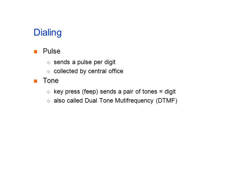 Dialing Pulse Pulse sends a pulse per digit sends a pulse per digit collected by central office collected by central office Tone Tone key press (feep) sends a pair of tones = digit key press (feep) sends a pair of tones = digit also called Dual Tone Mutifrequency (DTMF) also called Dual Tone Mutifrequency (DTMF)