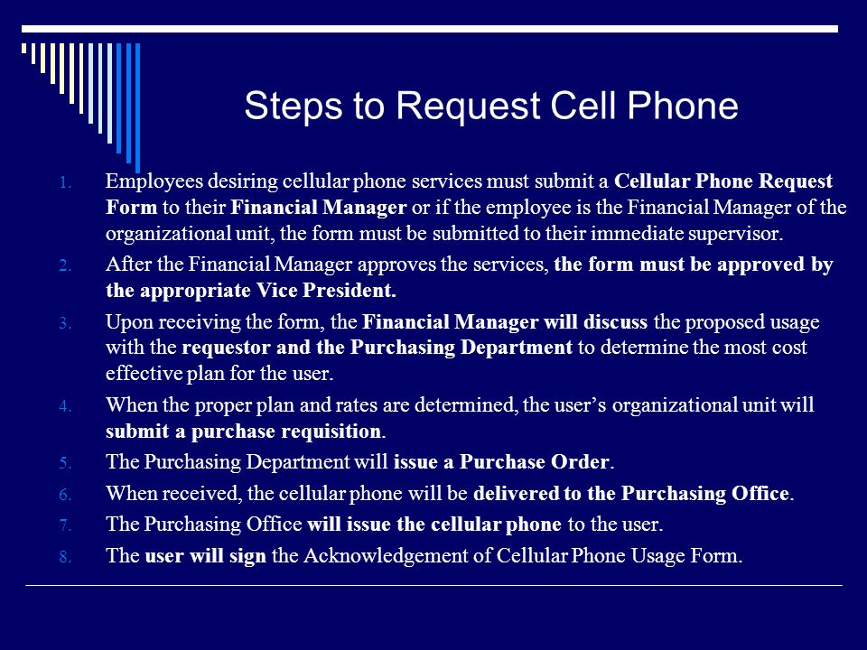 Steps to Request Cell Phone 1.