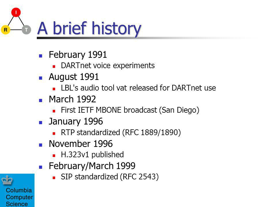 A brief history February 1991 DARTnet voice experiments August 1991 LBL s audio tool vat released for DARTnet use March 1992 First IETF MBONE broadcast (San Diego) January 1996 RTP standardized (RFC 1889/1890) November 1996 H.323v1 published February/March 1999 SIP standardized (RFC 2543)