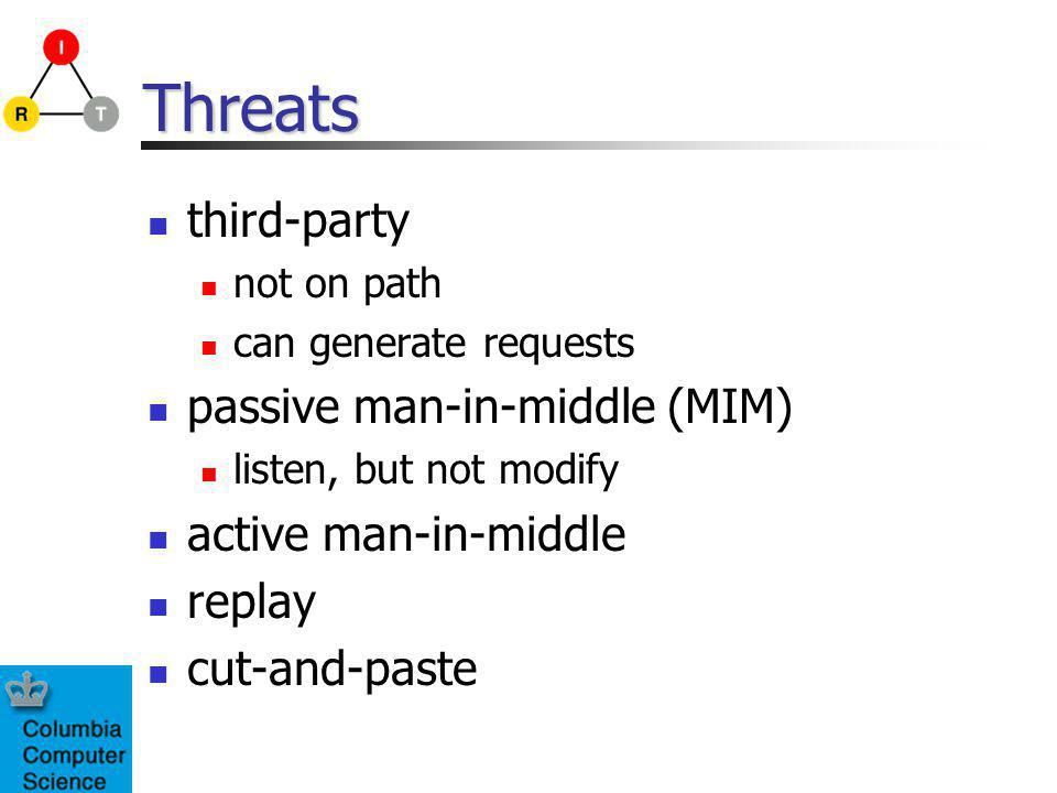 Threats third-party not on path can generate requests passive man-in-middle (MIM) listen, but not modify active man-in-middle replay cut-and-paste
