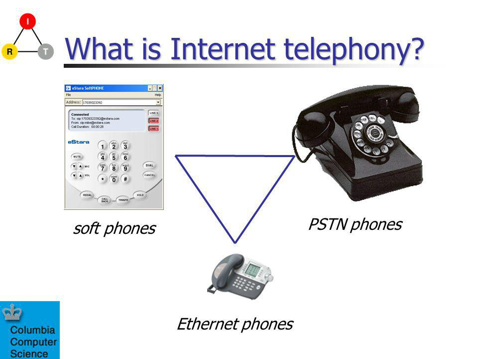 What is Internet telephony? soft phones PSTN phones Ethernet phones