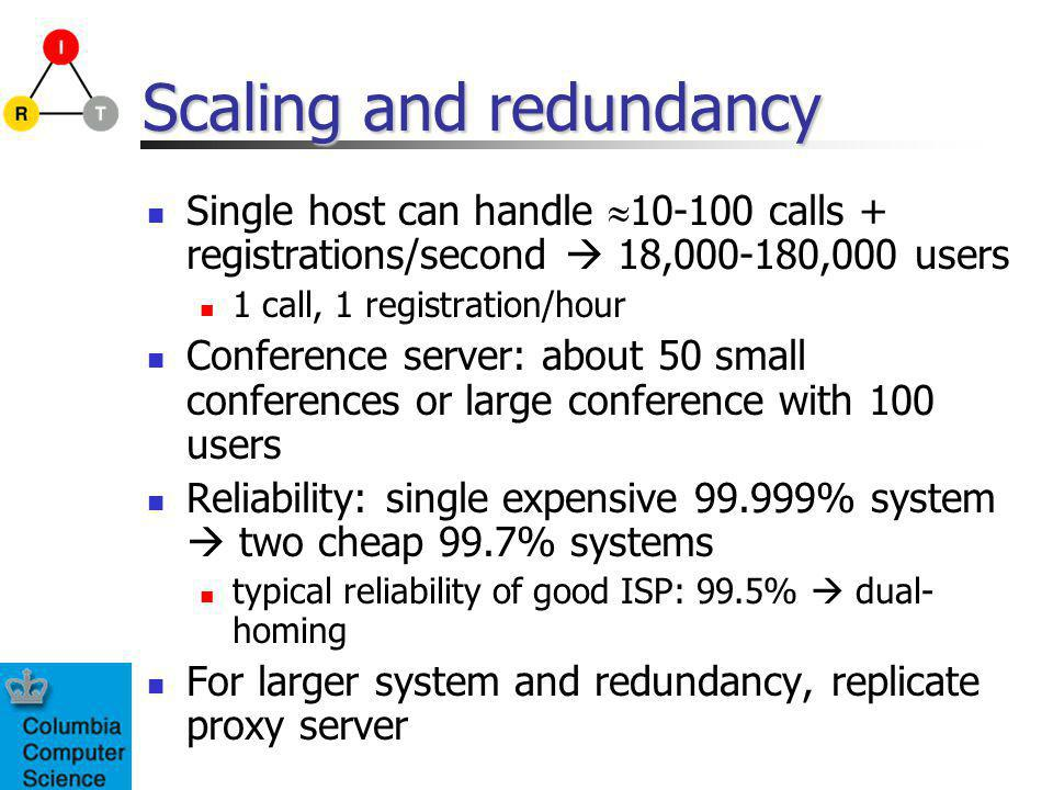 Scaling and redundancy Single host can handle 10-100 calls + registrations/second 18,000-180,000 users 1 call, 1 registration/hour Conference server: about 50 small conferences or large conference with 100 users Reliability: single expensive 99.999% system two cheap 99.7% systems typical reliability of good ISP: 99.5% dual- homing For larger system and redundancy, replicate proxy server
