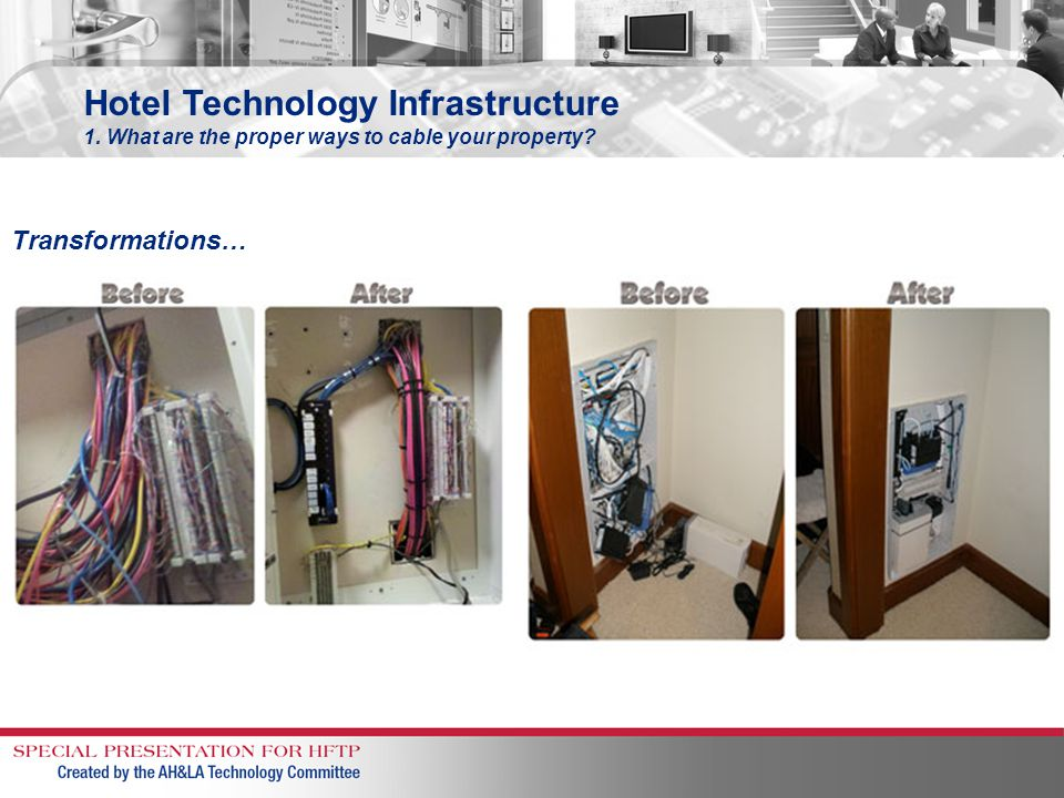 Hotel Technology Infrastructure 1. What are the proper ways to cable your property? Transformations…