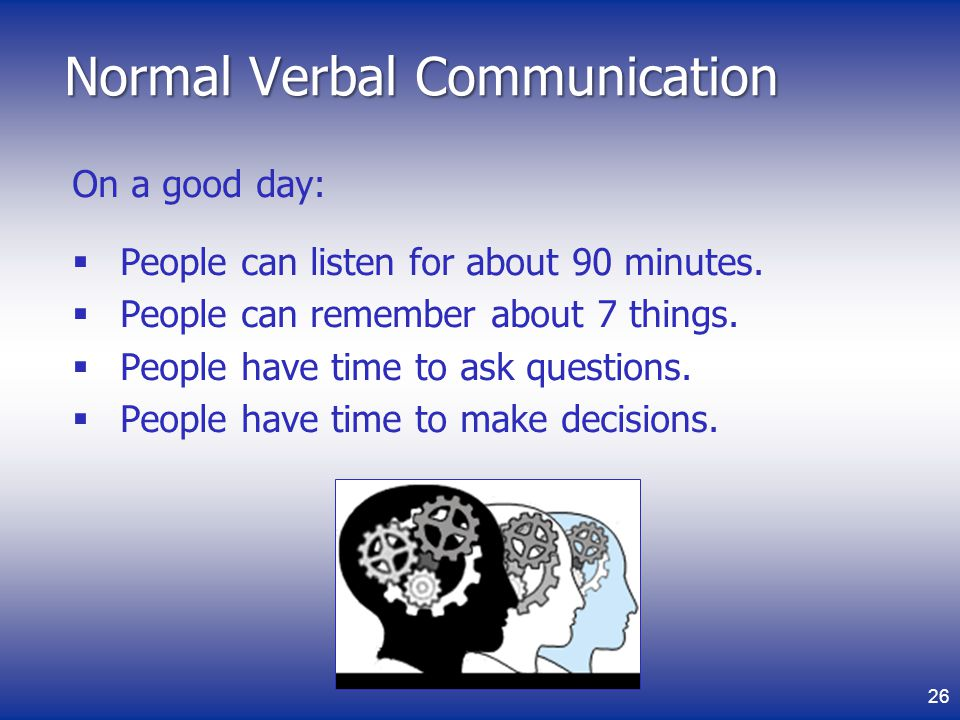 Normal Verbal Communication On a good day: People can listen for about 90 minutes.