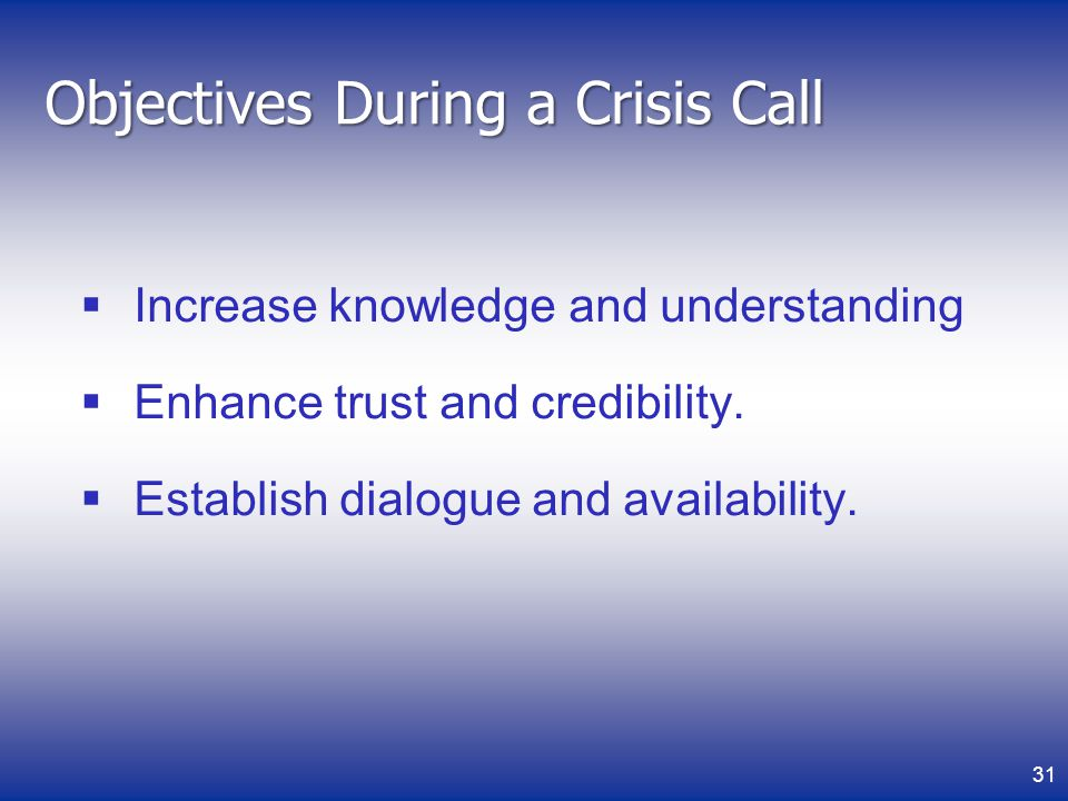 Objectives During a Crisis Call Increase knowledge and understanding Enhance trust and credibility.