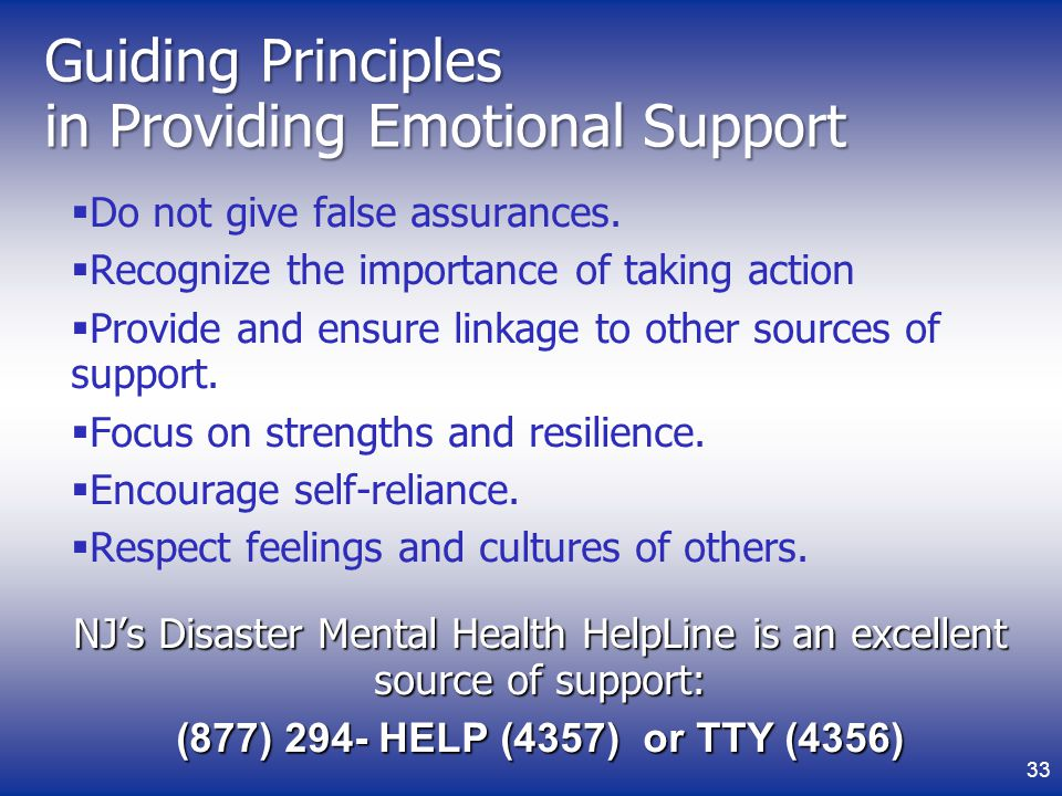 Guiding Principles in Providing Emotional Support Do not give false assurances.