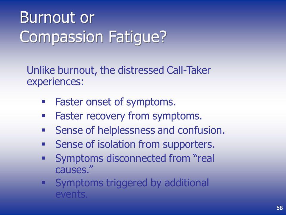 Burnout or Compassion Fatigue.