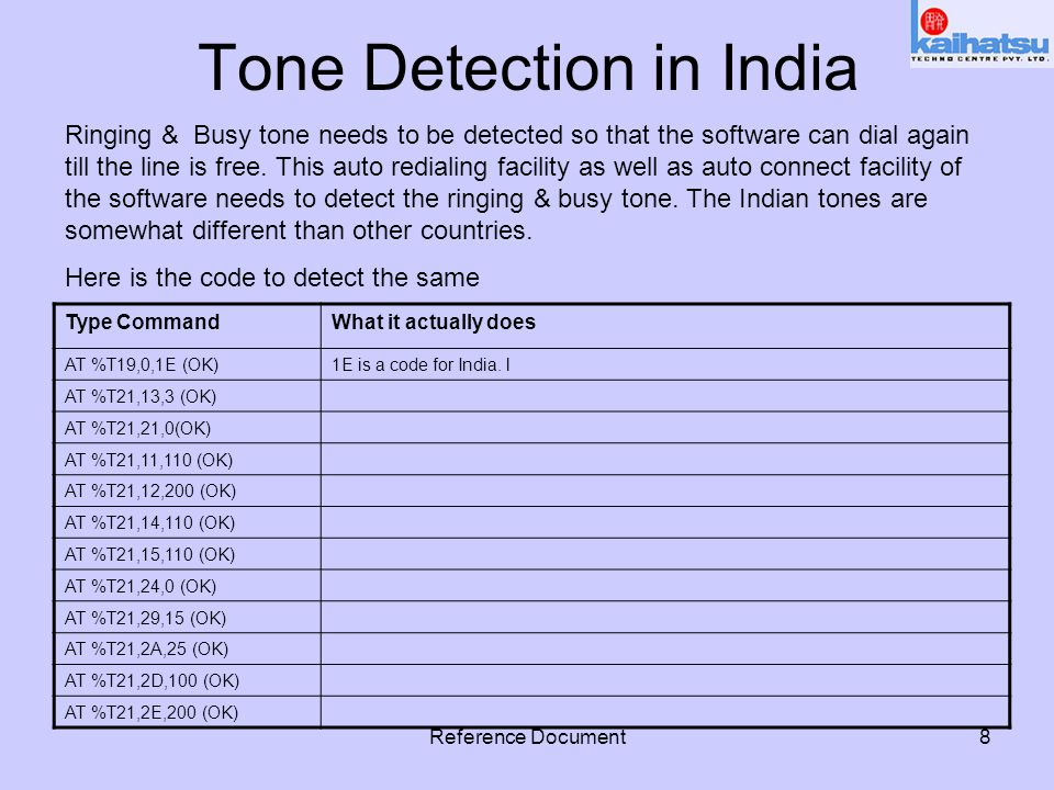 Reference Document8 Tone Detection in India Type CommandWhat it actually does AT %T19,0,1E (OK)1E is a code for India.