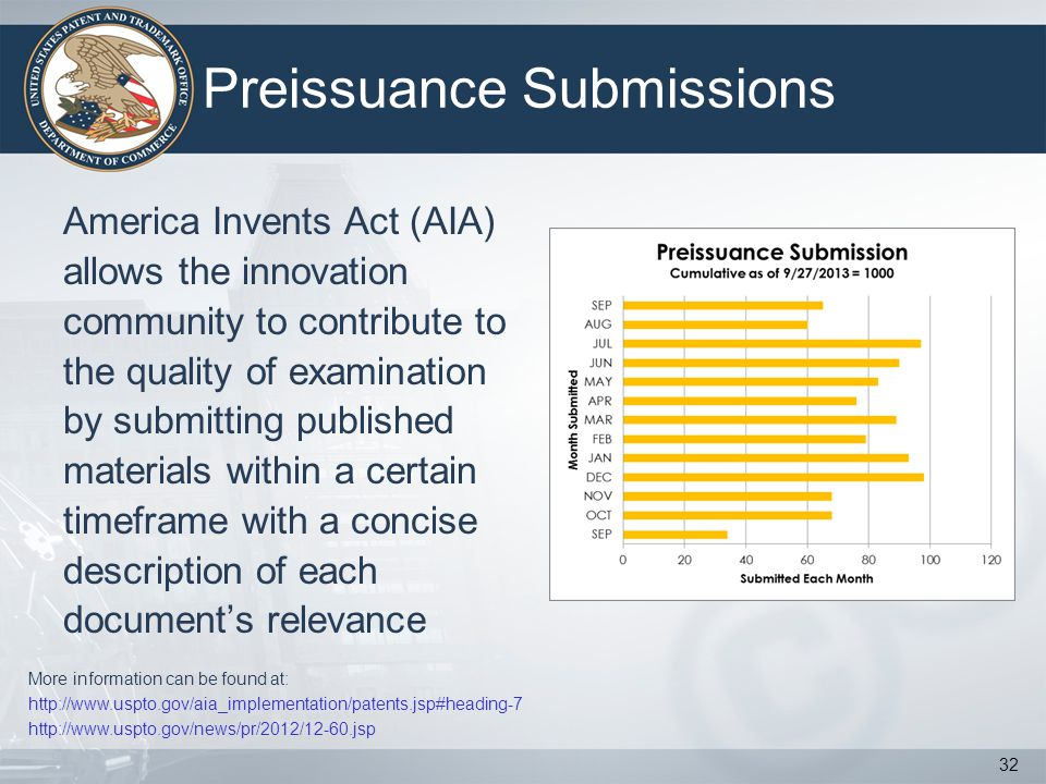Preissuance Submissions America Invents Act (AIA) allows the innovation community to contribute to the quality of examination by submitting published materials within a certain timeframe with a concise description of each documents relevance 32 More information can be found at: http://www.uspto.gov/aia_implementation/patents.jsp#heading-7 http://www.uspto.gov/news/pr/2012/12-60.jsp