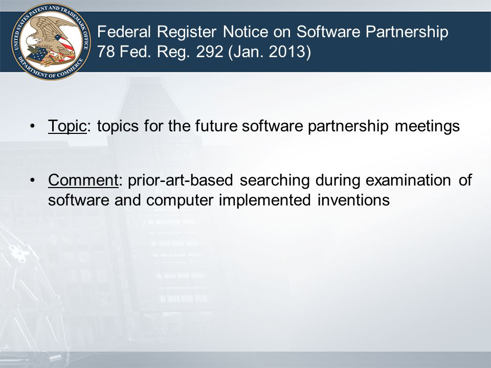 Federal Register Notice on Software Partnership 78 Fed.