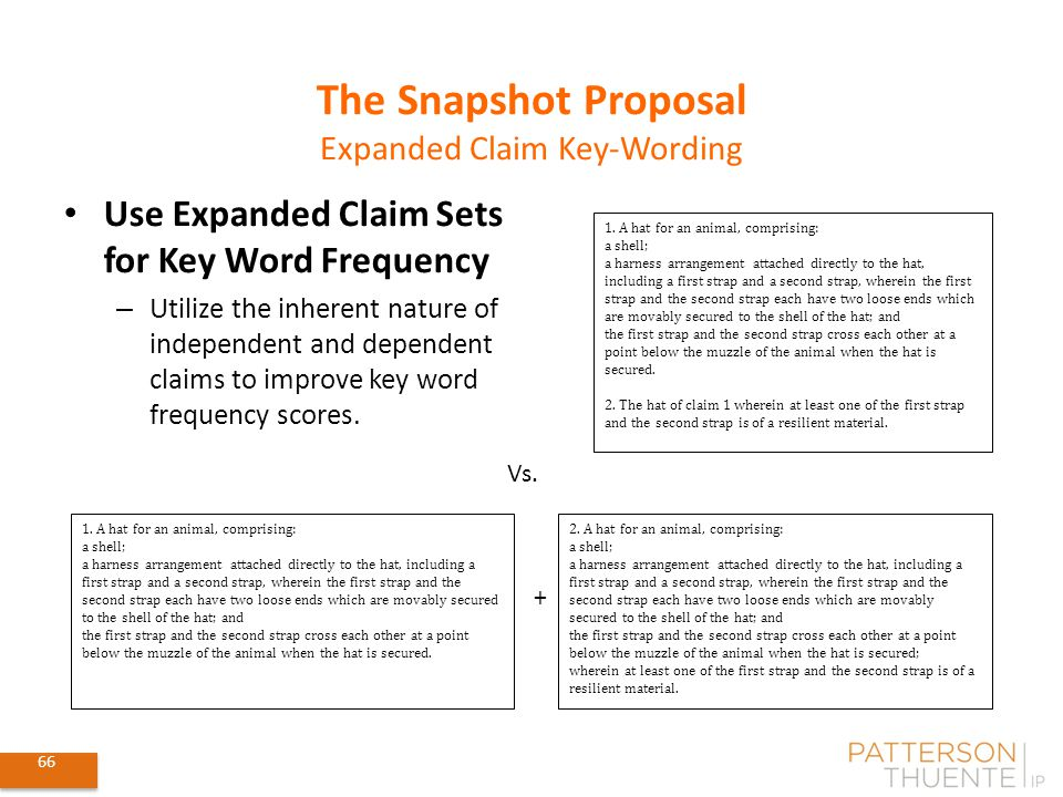 66 The Snapshot Proposal Expanded Claim Key-Wording 1.