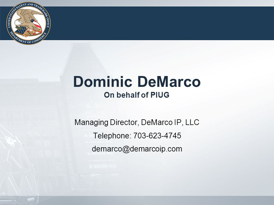 Dominic DeMarco On behalf of PIUG Managing Director, DeMarco IP, LLC Telephone: 703-623-4745 demarco@demarcoip.com