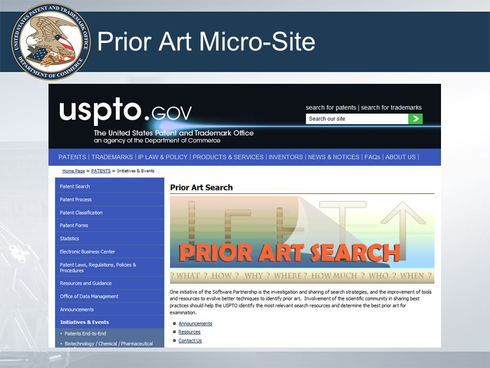 Prior Art Micro-Site