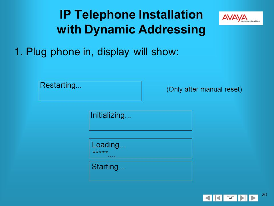 EXIT 25 46xx IP Telephone Agenda è Telephone Installation sDEFINITY R9 Administration sPhone Installation with Dynamic Addressing sPhone Installation with Static Addressing sOther Options
