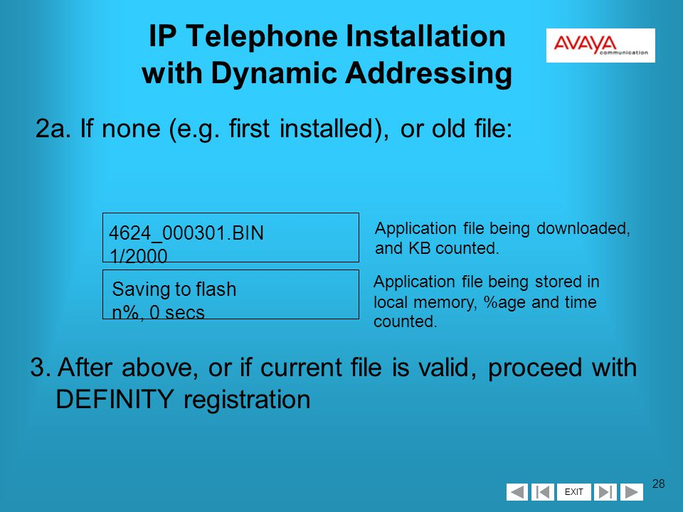 EXIT 27 IP Telephone Installation with Dynamic Addressing 1.
