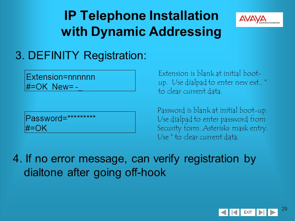 EXIT 28 IP Telephone Installation with Dynamic Addressing 2a.