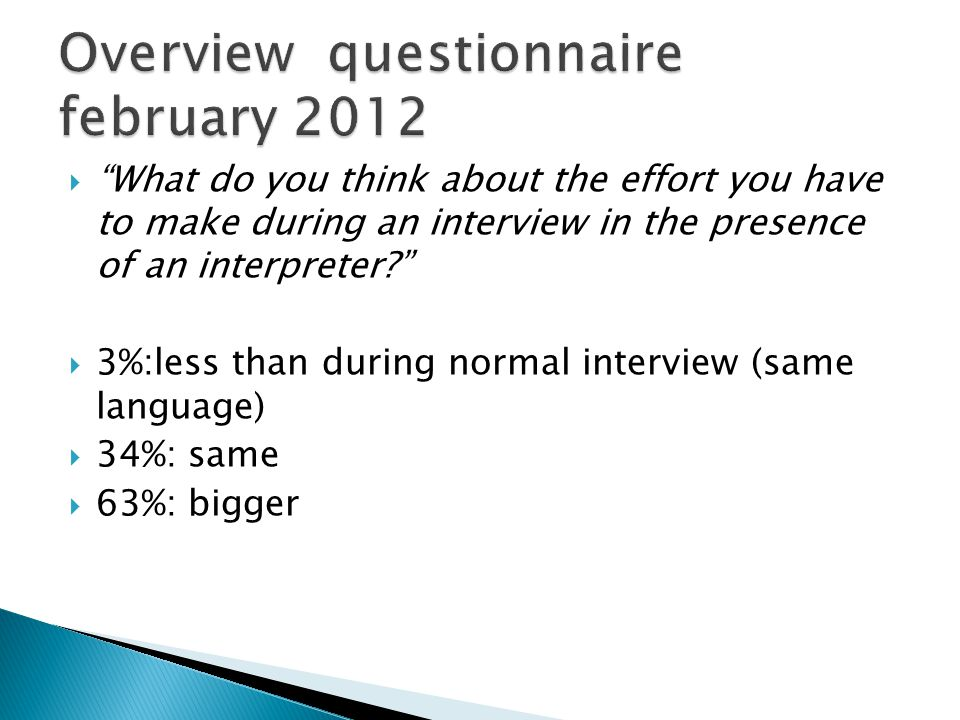 What do you think about the effort you have to make during an interview in the presence of an interpreter.
