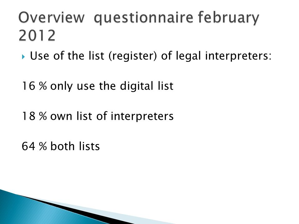 Use of the list (register) of legal interpreters: 16 % only use the digital list 18 % own list of interpreters 64 % both lists