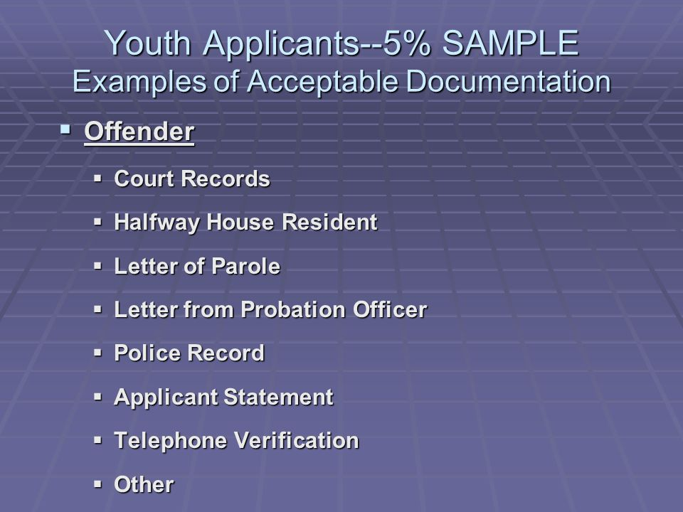 Youth Applicants--5% SAMPLE Examples of Acceptable Documentation Offender Offender Court Records Court Records Halfway House Resident Halfway House Resident Letter of Parole Letter of Parole Letter from Probation Officer Letter from Probation Officer Police Record Police Record Applicant Statement Applicant Statement Telephone Verification Telephone Verification Other Other
