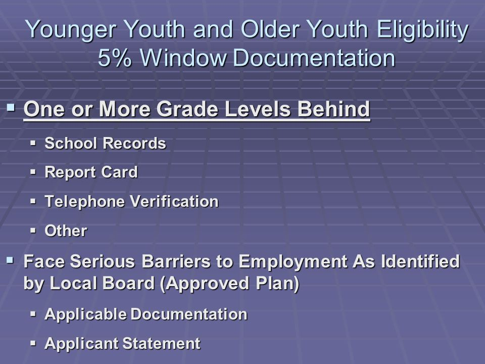 Younger Youth and Older Youth Eligibility 5% Window Documentation One or More Grade Levels Behind One or More Grade Levels Behind School Records School Records Report Card Report Card Telephone Verification Telephone Verification Other Other Face Serious Barriers to Employment As Identified by Local Board (Approved Plan) Face Serious Barriers to Employment As Identified by Local Board (Approved Plan) Applicable Documentation Applicable Documentation Applicant Statement Applicant Statement