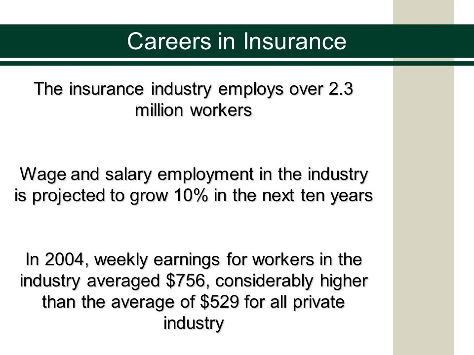Careers in Insurance How many insurance jobs can you name.
