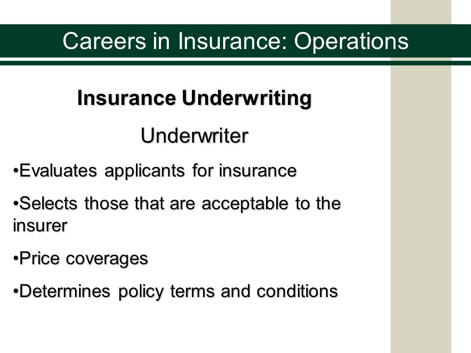Careers in Insurance: Operations Insurance Underwriting Line Underwriter Responsible for the day-to-day decisionsResponsible for the day-to-day decisions Must refer to the insurers underwriting guidelinesMust refer to the insurers underwriting guidelines Underwriting Management Sets the company guidelines for underwritingSets the company guidelines for underwriting Delegates underwriting authorityDelegates underwriting authority