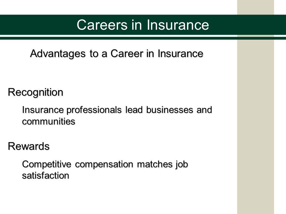 Careers in Insurance Advantages to a career in Insurance Flexibility The industry invites people to take charge and work at their own pace in any location Challenge People in insurance make a difference by solving problems and helping people