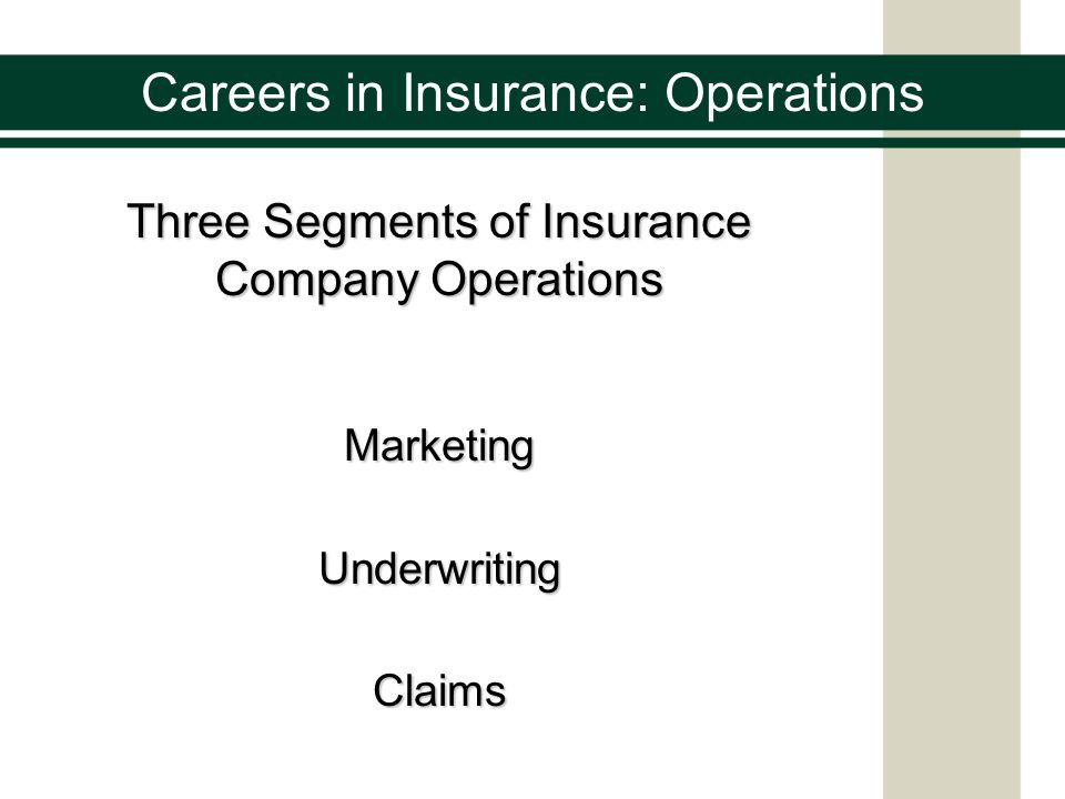 Careers in Insurance: Operations Insurance Marketing The process of identifying potential customers and then creating and supplying the products and services they need
