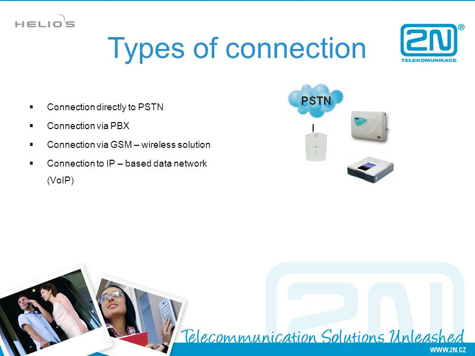 Connection directly to PSTN Connection via PBX Connection via GSM – wireless solution Connection to IP – based data network (VoIP) Types of connection