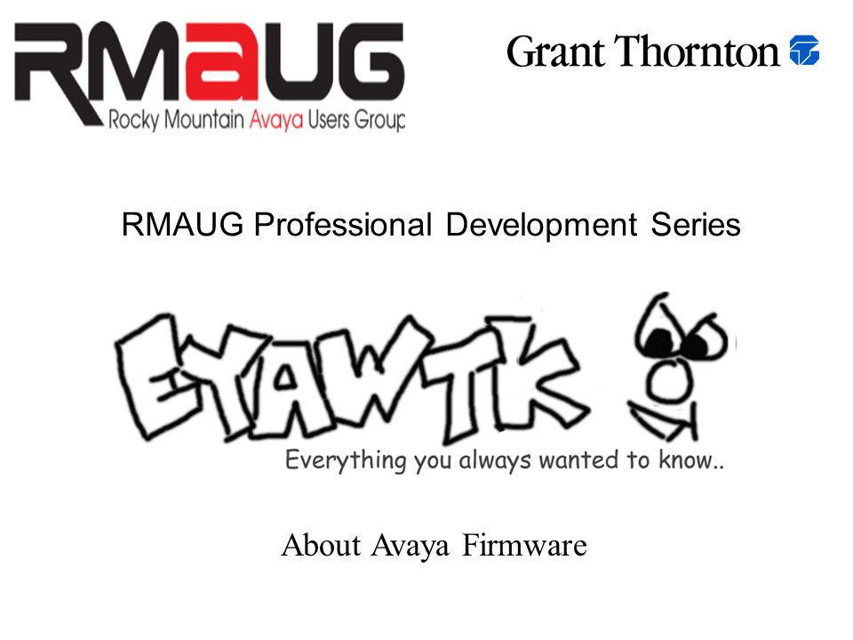 RMAUG Professional Development Series About Avaya Firmware