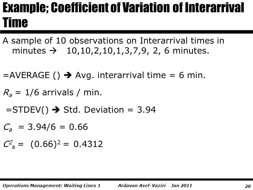28 Ardavan Asef-Vaziri Jan 2011Operations Management: Waiting Lines 1 =AVERAGE () Avg. interarrival time = 6 min. R a = 1/6 arrivals / min. =STDEV() S
