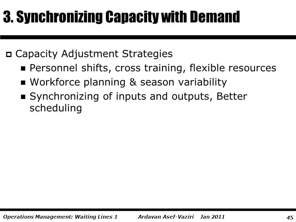 45 Ardavan Asef-Vaziri Jan 2011Operations Management: Waiting Lines 1 Capacity Adjustment Strategies Personnel shifts, cross training, flexible resour
