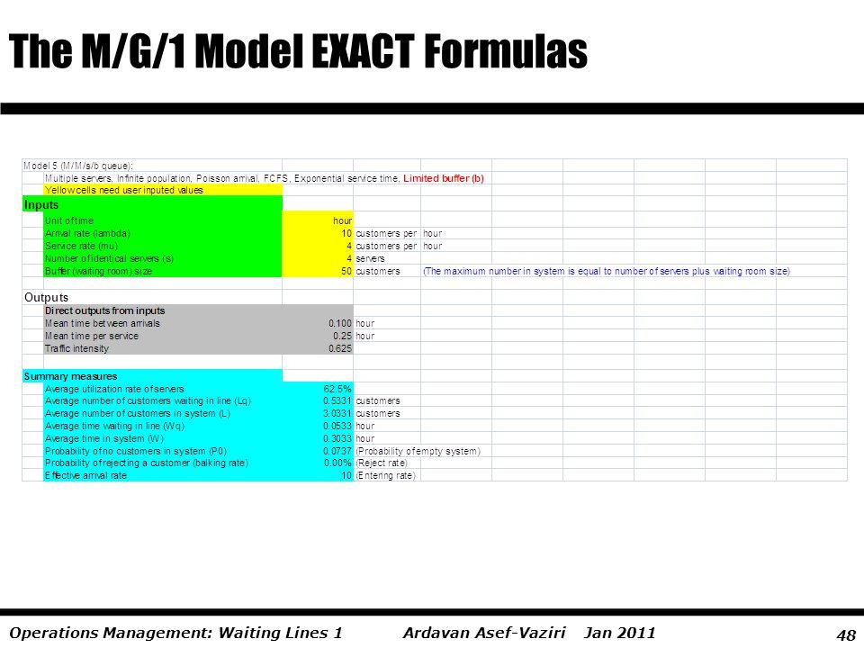 48 Ardavan Asef-Vaziri Jan 2011Operations Management: Waiting Lines 1 The M/G/1 Model EXACT Formulas