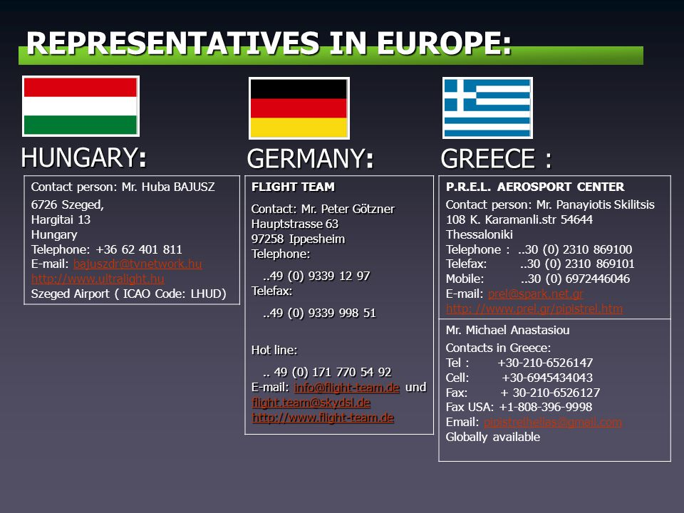 REPRESENTATIVES IN EUROPE: GERMANY: FLIGHT TEAM Contact: Mr. Peter Götzner Hauptstrasse 63 97258 Ippesheim Telephone:..49 (0) 9339 12 97 Telefax:..49