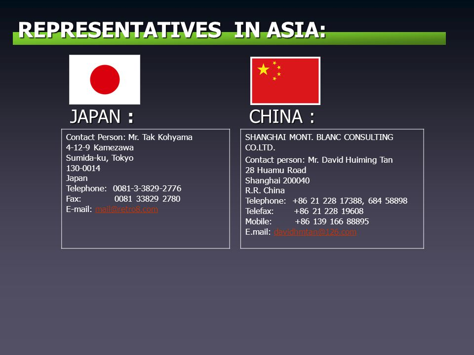 REPRESENTATIVES IN ASIA: JAPAN : Contact Person: Mr.