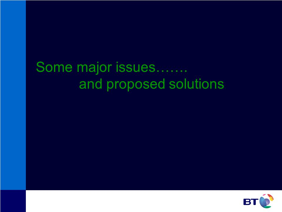 Some major issues……. and proposed solutions