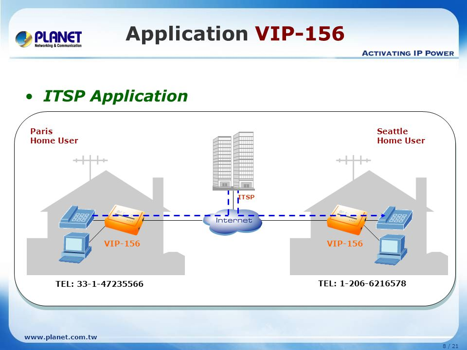 www.planet.com.tw 7 / 21 Application VIP-156 Peer-to-Peer Application Seattle Home User Paris Home User VIP-156 IP Address: 81.66.247.27 IP Address: 6
