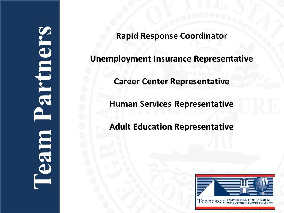 Team Partners Rapid Response Coordinator Unemployment Insurance Representative Career Center Representative Human Services Representative Adult Educat