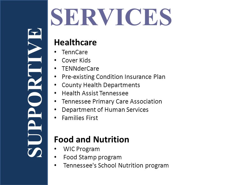 SERVICES Healthcare TennCare Cover Kids TENNderCare Pre-existing Condition Insurance Plan County Health Departments Health Assist Tennessee Tennessee Primary Care Association Department of Human Services Families First Food and Nutrition WIC Program Food Stamp program Tennessee s School Nutrition program SUPPORTIVE