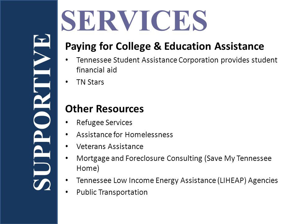 Paying for College & Education Assistance Tennessee Student Assistance Corporation provides student financial aid TN Stars Other Resources Refugee Ser