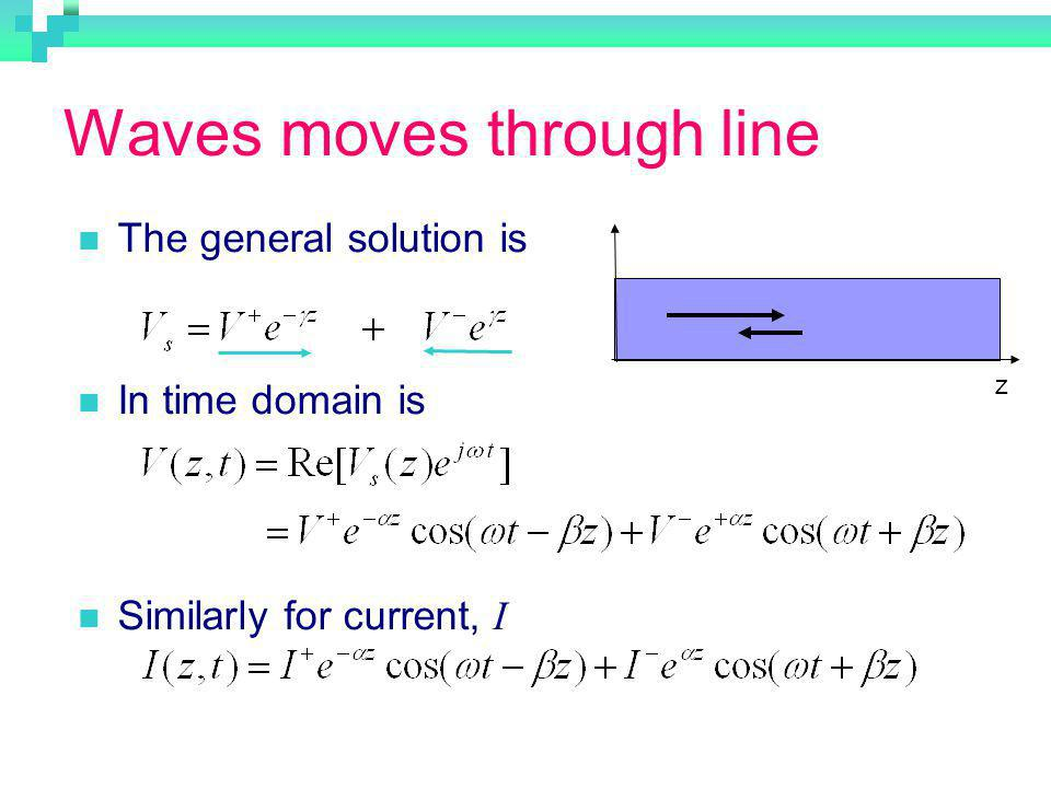 Waves moves through line The general solution is In time domain is Similarly for current, I z