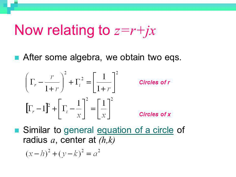 Now relating to z=r+jx After some algebra, we obtain two eqs. Similar to general equation of a circle of radius a, center at (h,k) Circles of r Circle