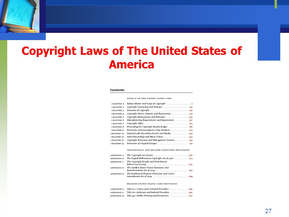 Copyright Laws of The United States of America 27