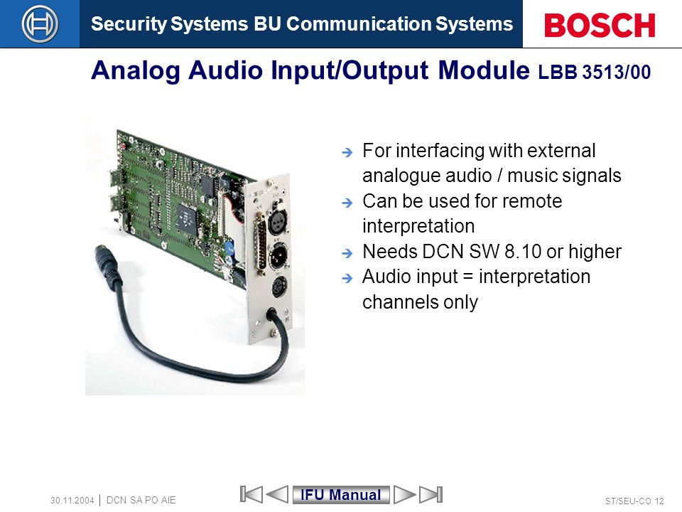 Security Systems BU Communication Systems ST/SEU-CO 12 DCN SA PO AIE 30.11.2004 Analog Audio Input/Output Module LBB 3513/00 For interfacing with exte