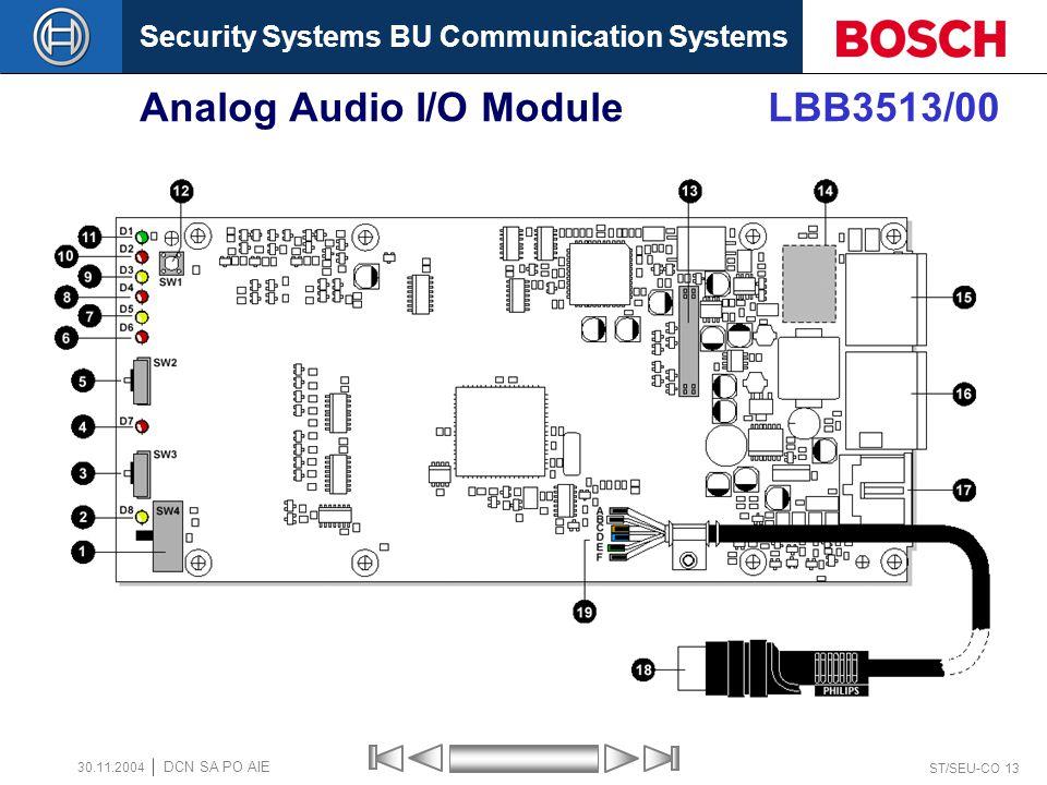 Security Systems BU Communication Systems ST/SEU-CO 13 DCN SA PO AIE 30.11.2004 Analog Audio I/O Module LBB3513/00